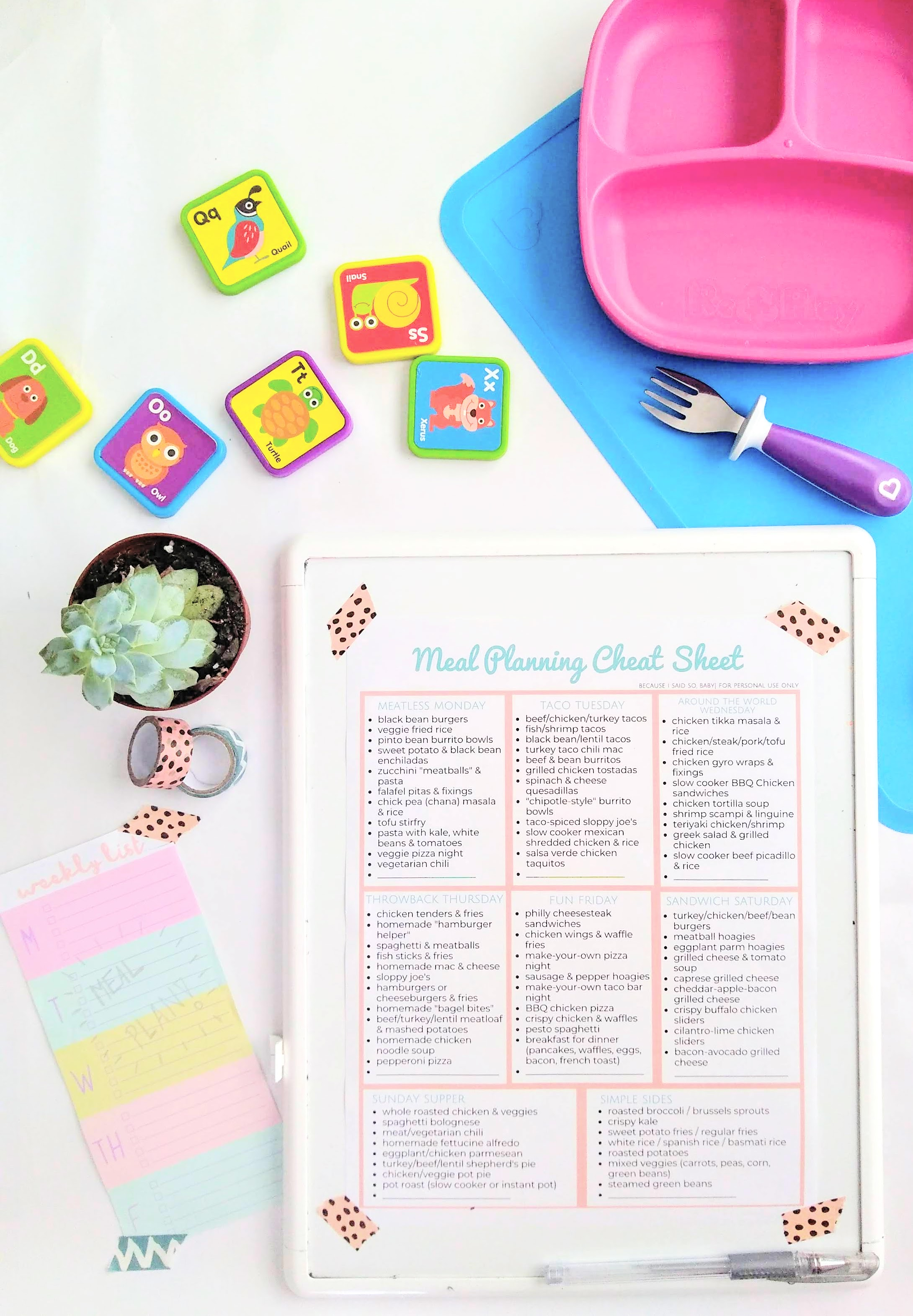 photo relating to Printable Meal Plan called Printable Dinner Coming up with Cheat Sheet